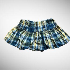 Old Navy a-line/full blue & yellow plaid miniskirt
